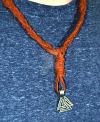 Valknut Leather Necklace-detail front by Cypress-626