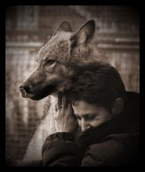 Wolf and woman by Lilia73