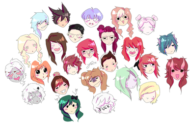 Anime Faces by drive-a-leaf
