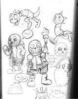 Undertale Sketch Dump #1 - Skelefun. by megaflamehedge