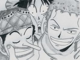 one piece - usopp, luffy and zoro by lea33