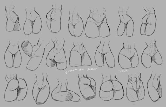 Practice sketches - Thighs and butts by WMDiscovery93