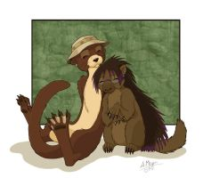 Otter and Porcupine by Kitsune64