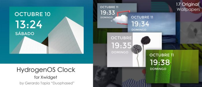 HydrogenOS Clock Widget for Xwidget by Duophased
