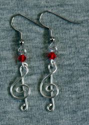 Silver and Red Treble Clef Earrings by craftymama