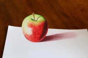 Anamorphic Drawing of An Apple by woodenpalette