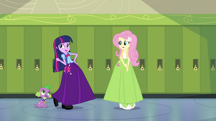 Twilight with Fluttershy in a long skirts by Starman1999