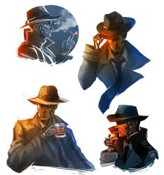 Fallout 4 - Nick Valentine sketches by maXKennedy