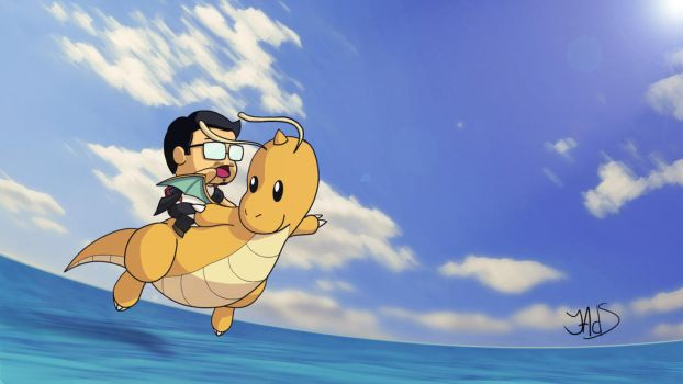 Flying with Dragonite by Luned13