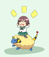 Mutsuki and Mareep by LunarisFuryAileron