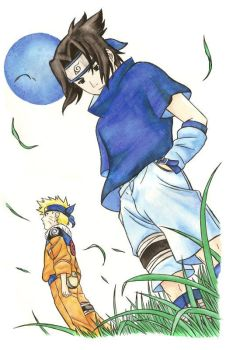 Sasuke and Naruto by KrystalNexus