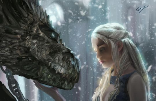 Daenerys with Dragon by Sinphie