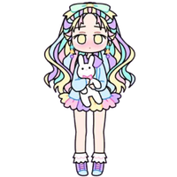 Pastel Girl with Stuffed Bunny by Rosemoji