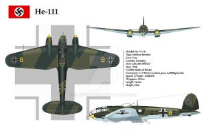 He-111 KG53 3-View by WS-Clave