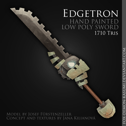 Edgetron - low poly hand painted sword by foxinsoxx