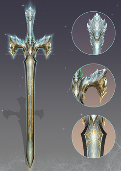 (CUSTOM) - White Wolf Sword for Fiel7d by Timothy-Henri
