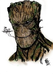 groot inktober plus color by nic011