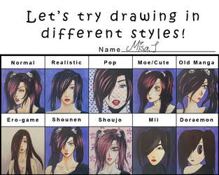 different styles meme by Misax3Misa
