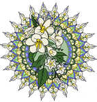 Frangipani Mandala Blue, Yellow and Green by LorraineKelly