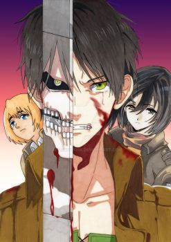 Attack on Titan : Eren, Mikasa and Armin by MT-Artwork