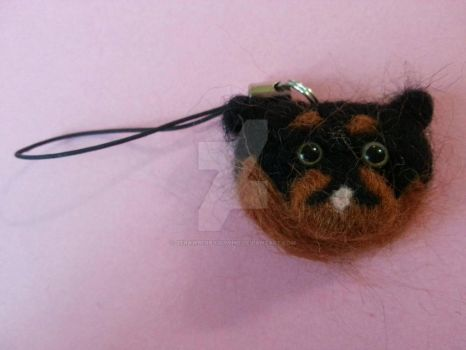 Needle felted Rottweiler cell charm by StrawberryGumiho