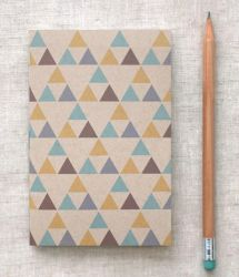 Triangles Mini Journal - Blue Gold Brown by happydappybits