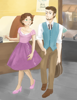 50's!Tangled AU- City Stroll by maybelletea