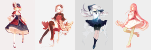 Female character designs by Pinlin