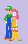 Big Mac and Cheerilee as Luigi and Daisy by TheWalrusclown
