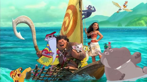 The Lion Guard goes on Island Adventure with Moana by EmilioKiara