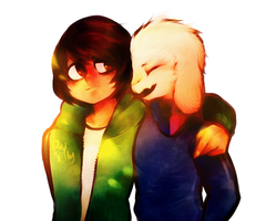 Storyshift chara and asriel by PCJelly