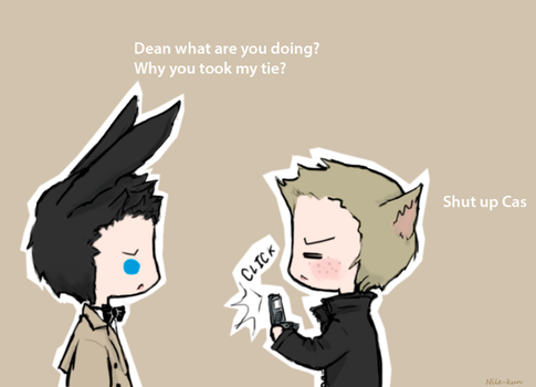 Day 10: With animal ears (Destiel) by Nile-kun