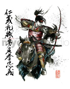 Samurai with Bow on Horse by MyCKs