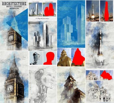 Architecture Sketch and Blueprint Photoshop Action by GraphicAssets