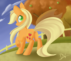 Regular Pony Drawing #1 - Applejack by Dusthiel