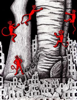 The War pen ink surreal drawing by Vitogoni