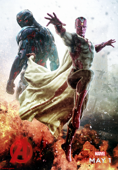Ultron and Vision - Avengers: Age of Ultron Poster by CAMW1N