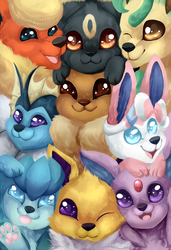 Fanart: All the eeveelutions! by TomoCreations
