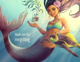 Mermaid with Turtle by tamiart
