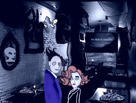 Mulder and Scully in a cafe by Elizabethjunean