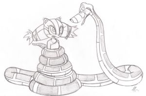 Kaa and Sticks Sketch by lol20