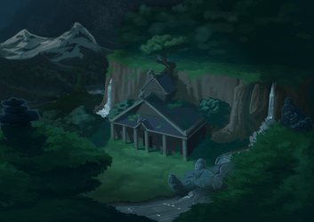 commission: temple in the mountainside by RocCenere