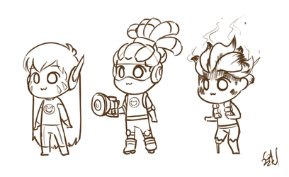 Chibi sketches by Gameaddict1234