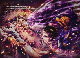 Luffy vs Doflamingo Colored by marvelmania