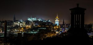 Edinburgh Night City Skyline by BusterBrownBB
