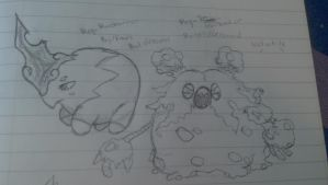 Mega Musharna and Mega Garbodor ideas- sketches