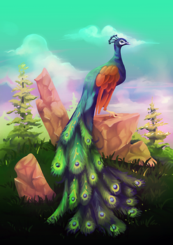 Peacock Parading on an Ancient Lawn by Dsaltk