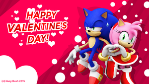 Happy Valentine's Day Sonic And Amy Wallpaper! by NuryRush