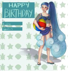 Beach Girl Birthday Card by 7H47-0N3-N3RD