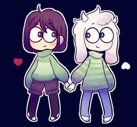 Chara and Asriel by Koalify13